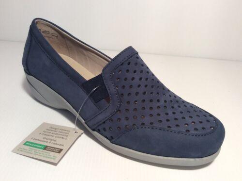 perforado de cuero azul mujer Nabuck Dava Zeppetta de cómodo Grunland Zapato Sc3411 zx0wnq8nR