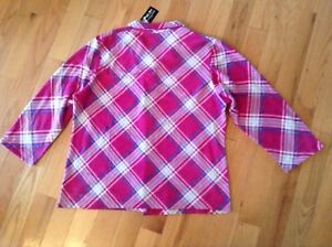 Hotel-Spa-Womens-Pink-Plaid-Micro-Fleece-Pajama-Sleepwear-Set-Sz-2X-NWT