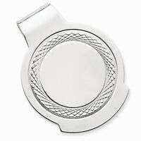Solid Sterling Silver Etched Circle Money Clip - 18 Grams