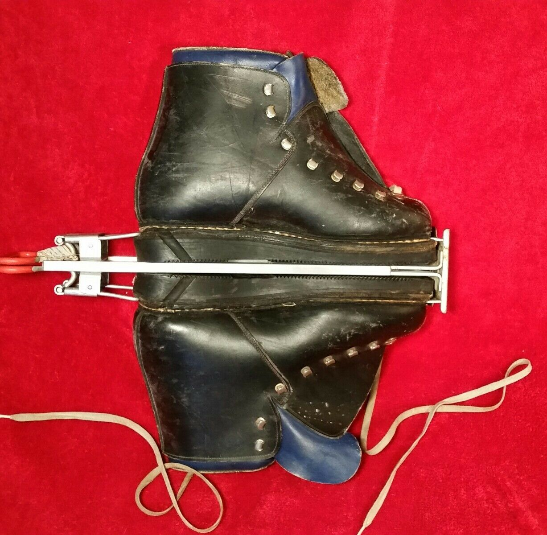Vtg. La DOLOMITE DOWNHILL Leather Men's Sz 9 Italian Ski Boots Ski Cabin Decore