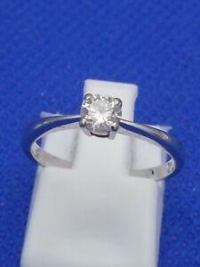 18 Carat White Gold 0.25 Carat Solitaire Diamond Ring Size L 1.9g
