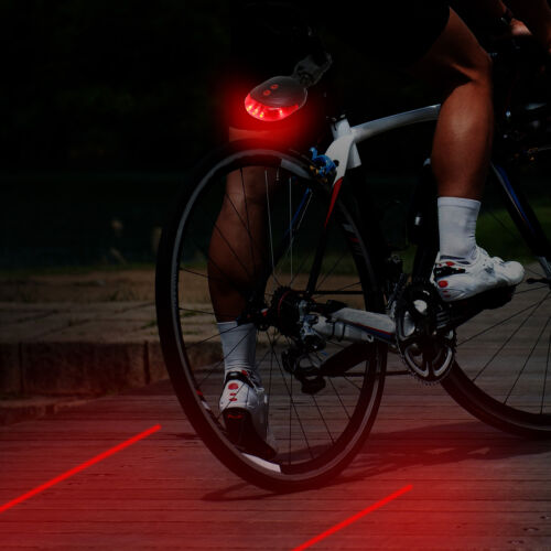 5 LED+2 Laser Bicycle Bike Light Rear Tail Cycling Safety Warning Flashing Lamp