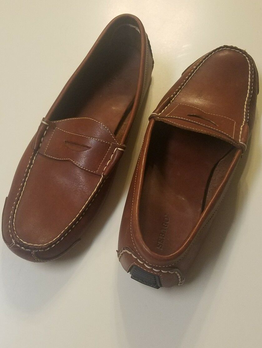 179 Sebago Mens Brown Leather Boat Shoe Driving Moccasin 11.5 M B70981 STITCHED