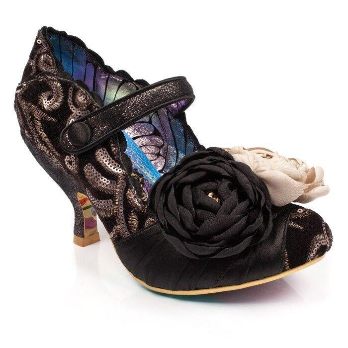 Irregular Choice upon thames schwarz sequin schuhe silk flowers