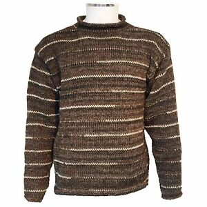 HIPPY-BOHO-CASUAL-COSY-HAND-KNITTED-MOTTLED-BROWN-CREW-NECK-JUMPER