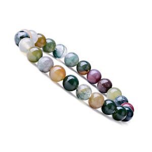 Natural-8mm-Gorgeous-Indian-Agate-Healing-Crystal-Stretch-Beaded-Bracelet-Unisex