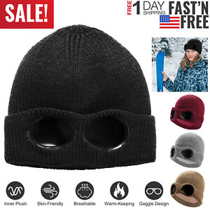 Men-Women-Knit-Beanie-Hat-with-Goggle-Chunky-Winter-Warm-Hat-Skull-Cap-4-Colors
