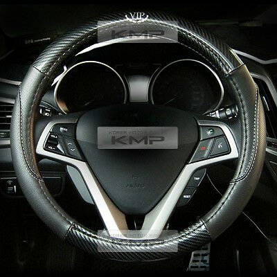 370mm Real Carbon Steering Wheel Cover Black for HYUNDAI 2011-2016 2017 Veloster