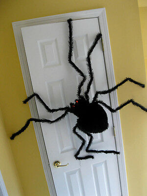 Giant Black Hairy Over 4' Spider Tarantula Lighted Eyes Halloween Party Prop