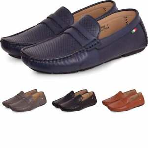 Mens-Luxury-Italian-Penny-Loafers-Slip-On-Mesh-Perforated-Moccasins-Driving-Shoe