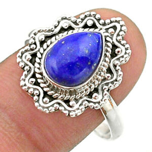 925 Silver 2.69cts Solitaire Natural Blue Lapis Lazuli Pear Ring Size 10 T41496