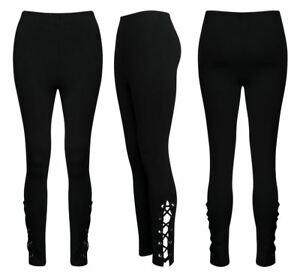 Womens Trouser Ladies Lace Up Eyelet Black Comfort Stretch Fitted Leggings