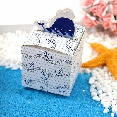 Bellissimo 100pz Scatole Cubo Portaconfetti Segnaposto Carino Delfino Blu Bomboniera Una Custodia Di Plastica è Compartimentata Per Lo Stoccaggio Sicuro