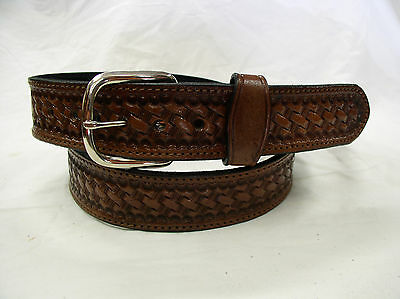 """Belt  Brown Basket Weave 2 Ply Lined 1 1/2"""" Heavy Duty Leather Gun Carry Holster"""