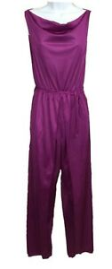 Vintage Undercover Wear Purple Sexy Draped Nylon Romper JumpSuit Split Leg M