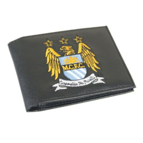 Manchester City Crest Embroidered Leather Wallet - Multi-Colour MAN CITY WALLET
