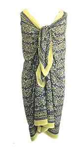 Anokhi-Yellow-amp-Grey-w-Silver-Stamping-Cotton-Sarong-Wrap-Cover-Up