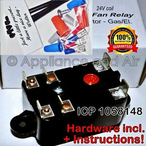 ICP-1058148-Fan-Switching-Relay-replacement-DPDT-24V-coil-Furnace-Instructions
