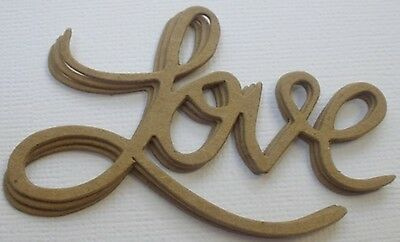 "{4} LOVE Title Phrase Embellishment Bare Unfinished Chipboard Die Cuts - 3"" long"