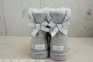 d3e42a50ecf Details about UGG MINI BAILEY BOW STRIPE SEAL SUEDE SHEEPSKIN ANKLE BOOTS  SIZE US 10 NIB