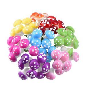 64-Pieces-Fairy-Miniature-Garden-Ornaments-Mushrooms-Decoration-8-Colors-r-G1F5