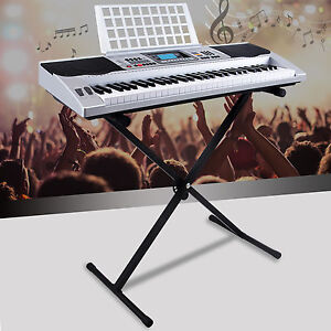 Silver-61-Key-Music-Digital-Electronic-Keyboard-Electric-Piano-Organ-with-Stand