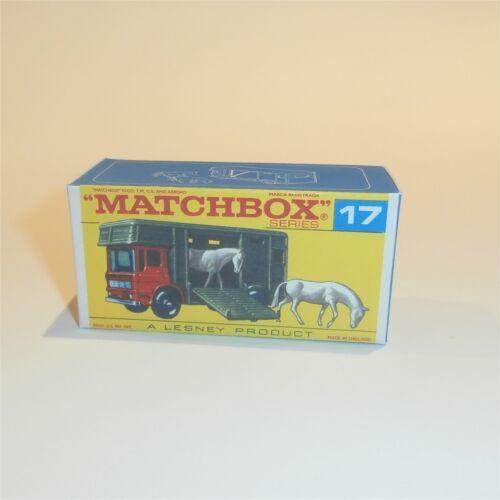 Matchbox Lesney 17 e AEC Horsebox Horse Float Truck empty Repro F style Box