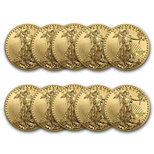 SPECIAL-PRICE-BANK-WIRE-1-oz-Gold-American-Eagle-BU-Random-Year-Lot-of-10