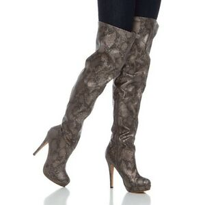 d08b55bdd3e Image is loading Shoedazzle-Rihannon-thigh-high-pewter-faux-snake-skin-