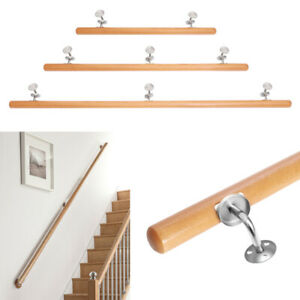 1-2m Wall Mounted Beech Stair Railing Handrail Stainless ...