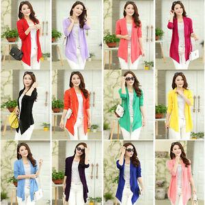 New-Summer-Women-039-s-Casual-Long-Sleeve-Cardigan-Ladies-Thin-Sweater-Coat-Outwear