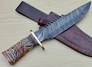Custom Handmade Damascus Steel 14 Bowie Hunting Knife Carved Bone Handle Ebay
