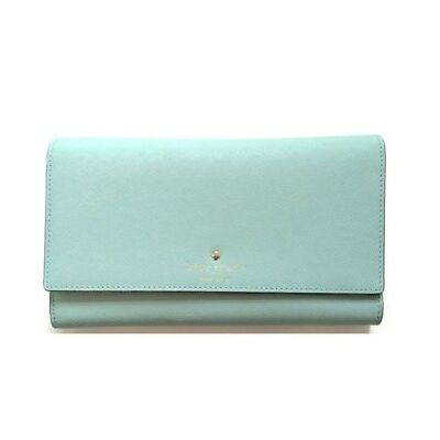 New Authentic Kate Spade Mikas Pond Phoenix Trifold Wallet Blue hydrnga $248