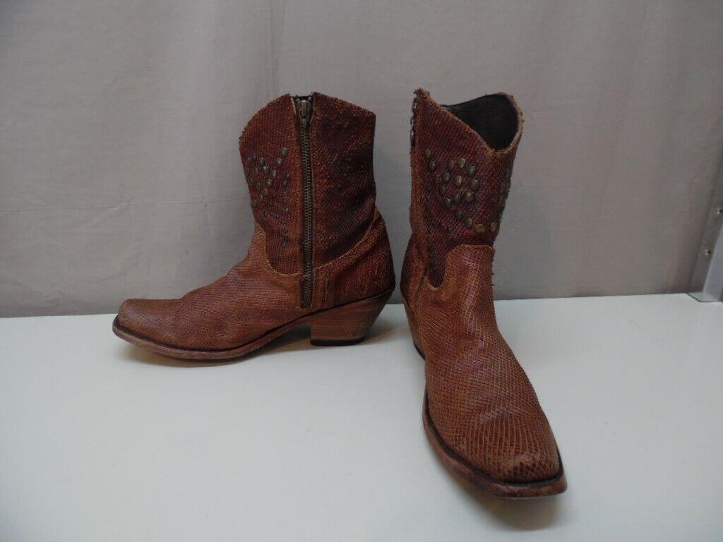 Women's Studded Side Zipper Ankle  Western Cowboy Boots 7 1 2 B(i448)