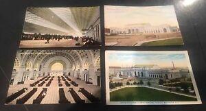 Washington-DC-4-Postcards-034-Union-Station-034-Railroad-Train-Depot-Street-View