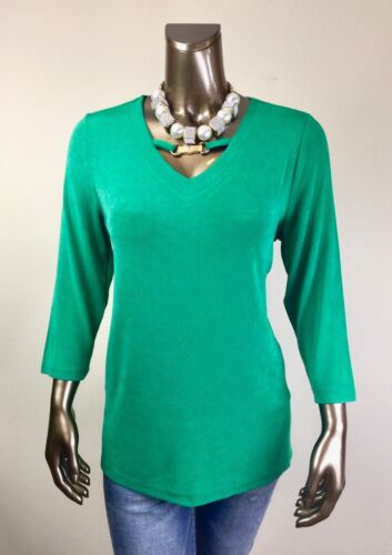 CHICO/'S *NWT SIZE 3. CABANA-GREEN BAMBOO-TRIM 3//4-SLV TOP $96 XL