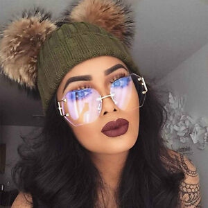 Oversized Square Rimless Vintage Retro Clear Lens Gold Silver Sunglasses Glasses