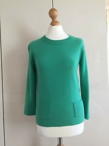 Jaeger-Bright-Green-Jumper-Size-Small-3-4-length-sleeves-Cashmere-and-Wool