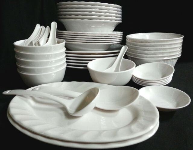 46 Piece Melamine Plastic WHITE Dinner Gift Set Serving Bowl Plate Platter Spoon & 46 Piece Melamine Plastic White Dinner Gift Set Serving Bowl Plate ...