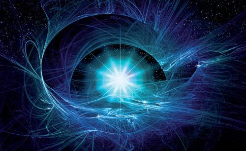 -Tunnel Cosmos Sterne Blau Weltall Universum VLIES Fototapete-3D ABSTRAKT- 180