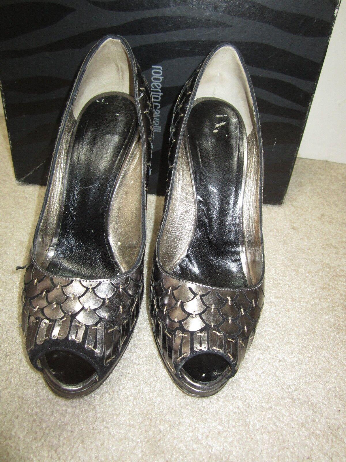 ROBERTO CAVALLI embellished platform Heels Pumps Schuhes sz 7