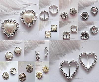 Diamante Rhinestone Pearl Buckles Ribbon Sliders Embellishments Wedding Bridal