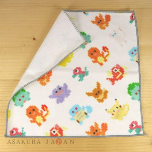 Pokemon Center Original Dot Pixel Pokemon Hand towel Handkerchief white Pikachu