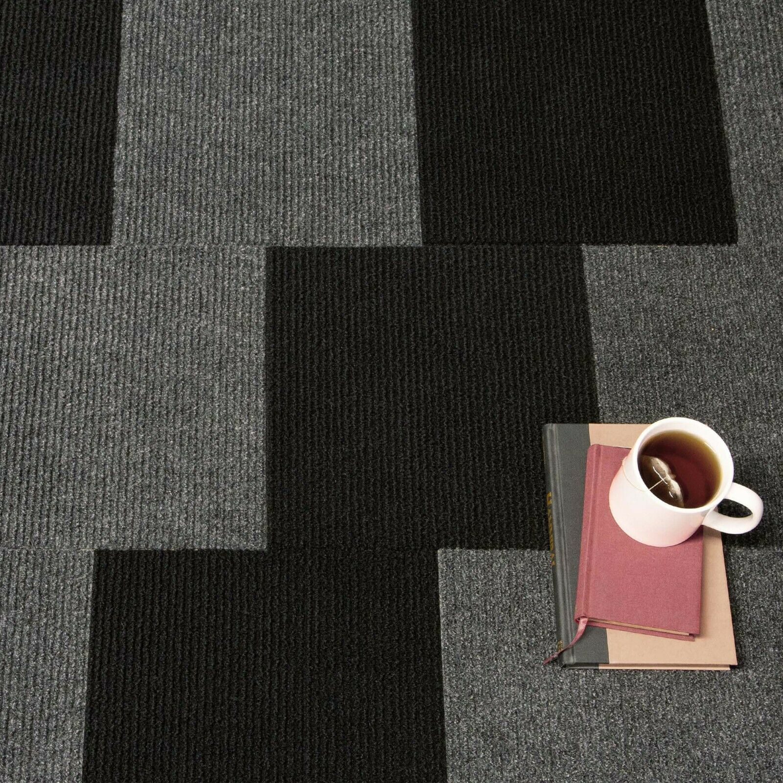 1 Tile - 1 Sqft, Black IncStores Berber Carpet Tiles