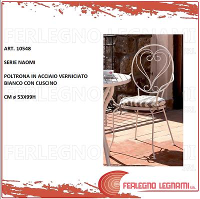 """2 Pz Di Poltrona """"naomi""""acciaio Verniciato Bianco Con Cuscino Art. 10548 Avere Una Lunga Posizione Storica"""