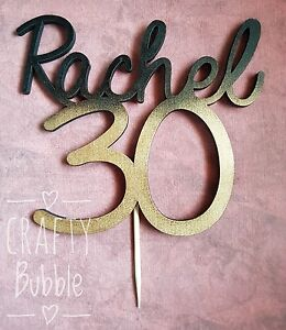 Personalised hand made wooden cake topper name and age