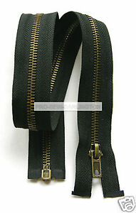 BLACK-ANTIQUE-BRASS-METAL-TEETH-OPEN-ENDED-ZIP-CHOICE-OF-LENGTHS