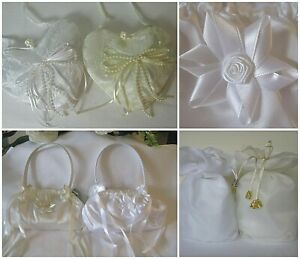 Details about Hand dolly bag for bridesmaids or flower girl. White & ivory. Wedding communion