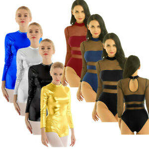 Womens-Lady-Metallic-Long-Sleeves-Ballet-Dance-Costume-Leotard-Unitards-Bodysuit