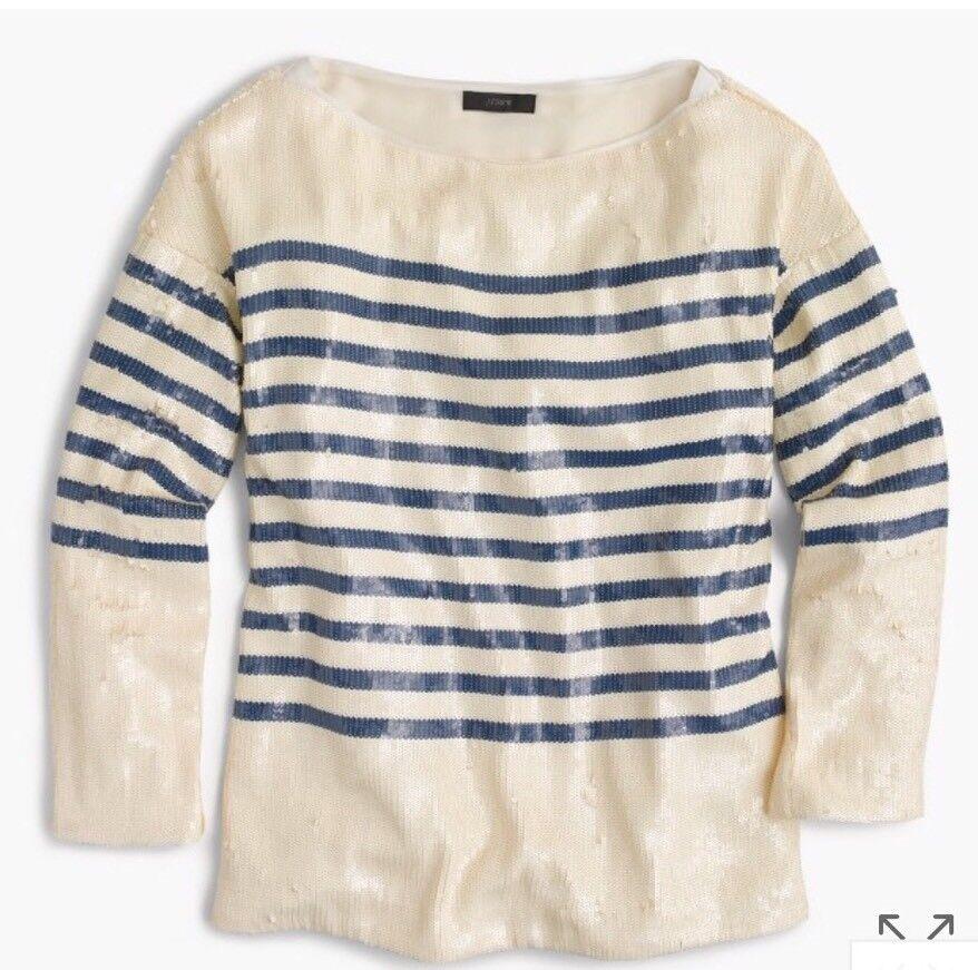 New J Crew Collection Striped Sequin Hemd Blau Fresh Cream Sz 10 G5615